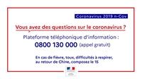 Coronavirus : un numéro gratuit d'information est disponible