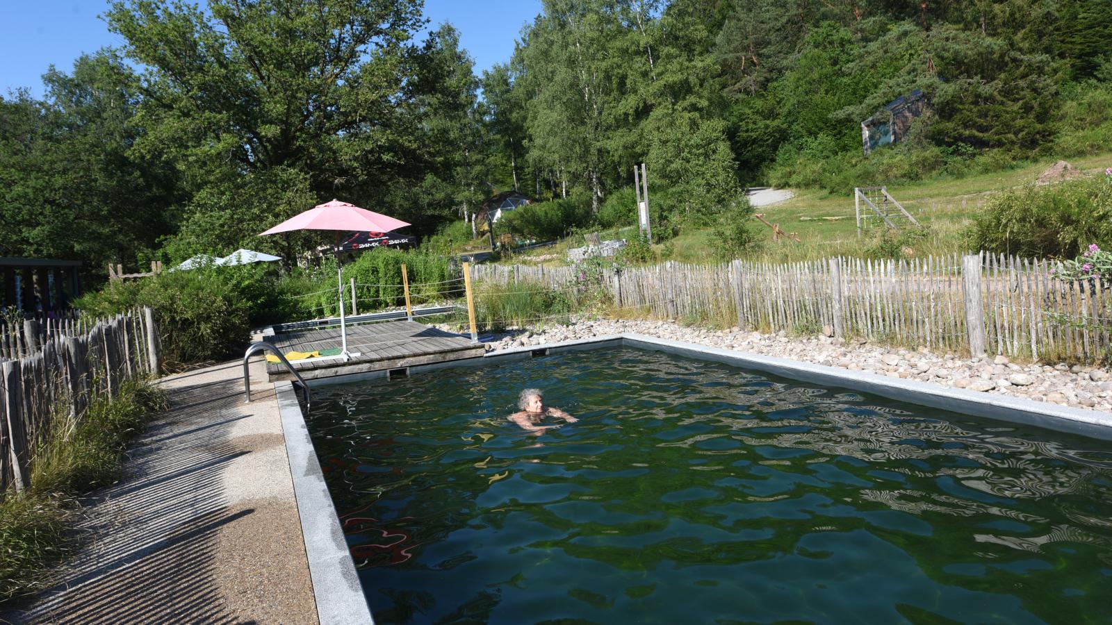 Le camping dispose d'une piscine naturelle, dont l'eau est filtrée par les plantes.